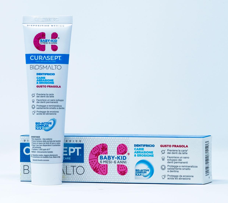 Curasept Biosmalto Dentifricio Baby - Kids Carie, Abrasione, Erosione (6 mesi – 6 anni) Gusto Fragola – 50 ml
