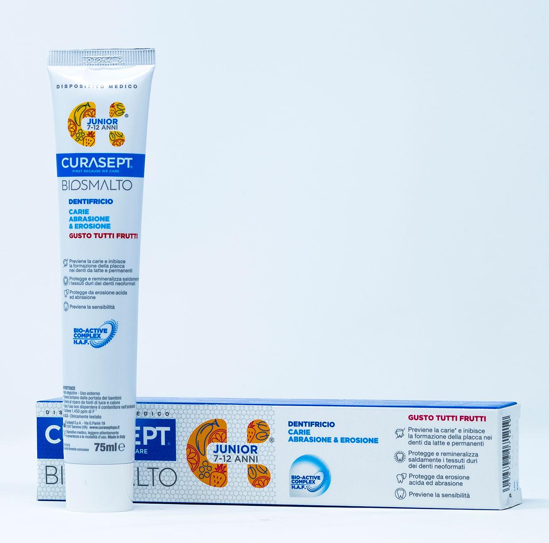 Curasept Biosmalto Dentifricio Junior Carie, Abrasione, Erosione (7- 12 anni) – 75 ml