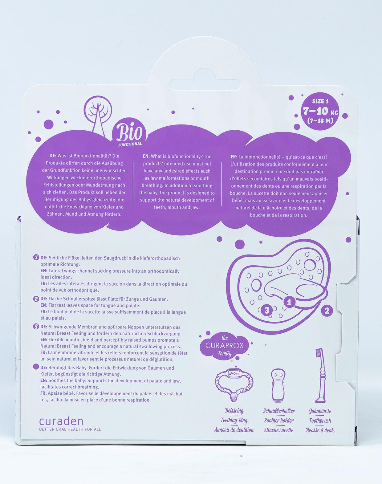 Curaprox Succhietto Taglia 1 [7- 18 mesi] 2 pz  + Scatola per Igienizzazione -  Vari Colori