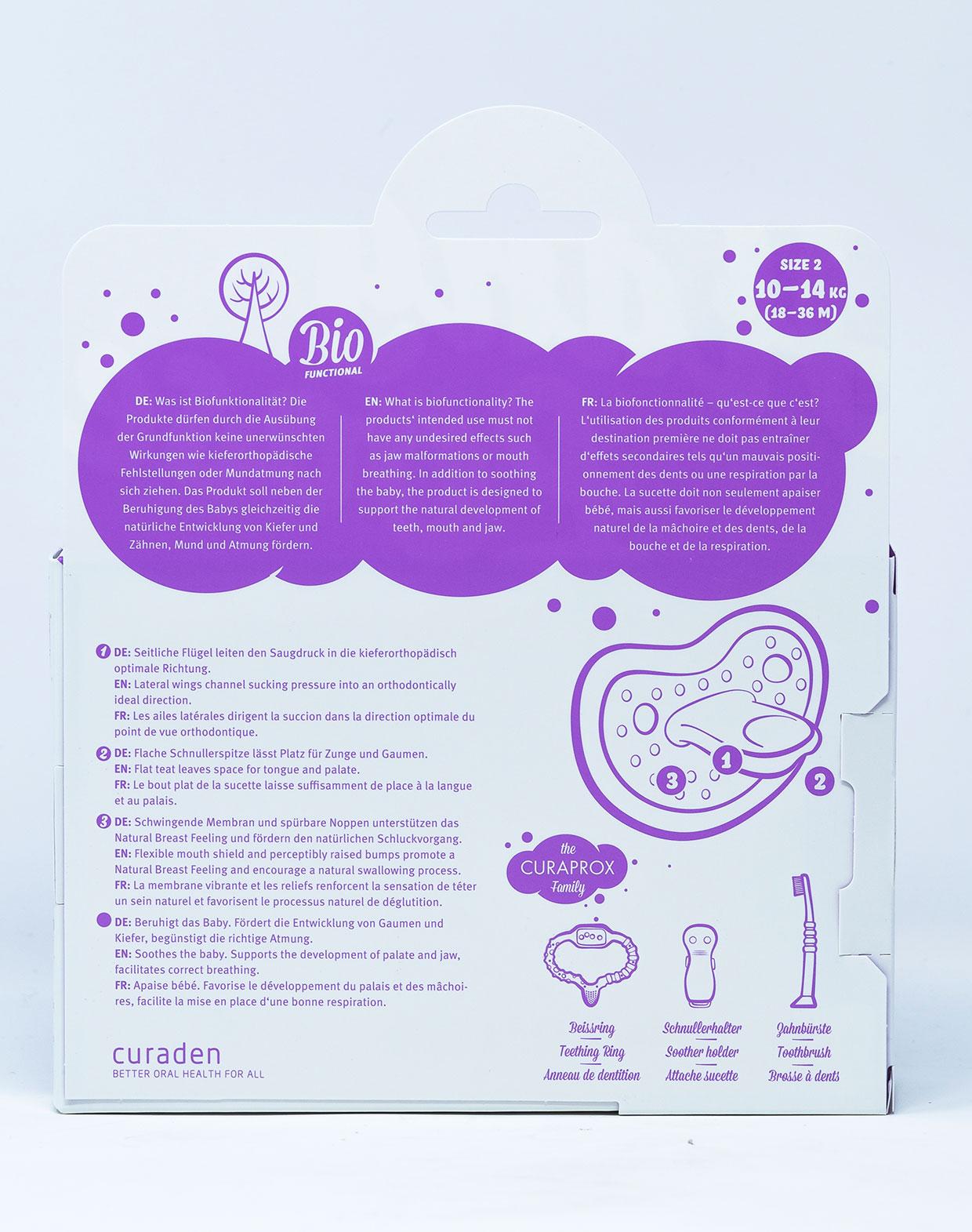 Curaprox Succhietto Taglia 2 [18- 36 mesi] 2 pz + Scatola per Igienizzazione - Vari Colori