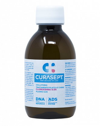 Curasept Collutorio ADS DNA Trattamento Carie e Placca - Clorexidina 0,05% e Fluoro 0,05% – 200 ml