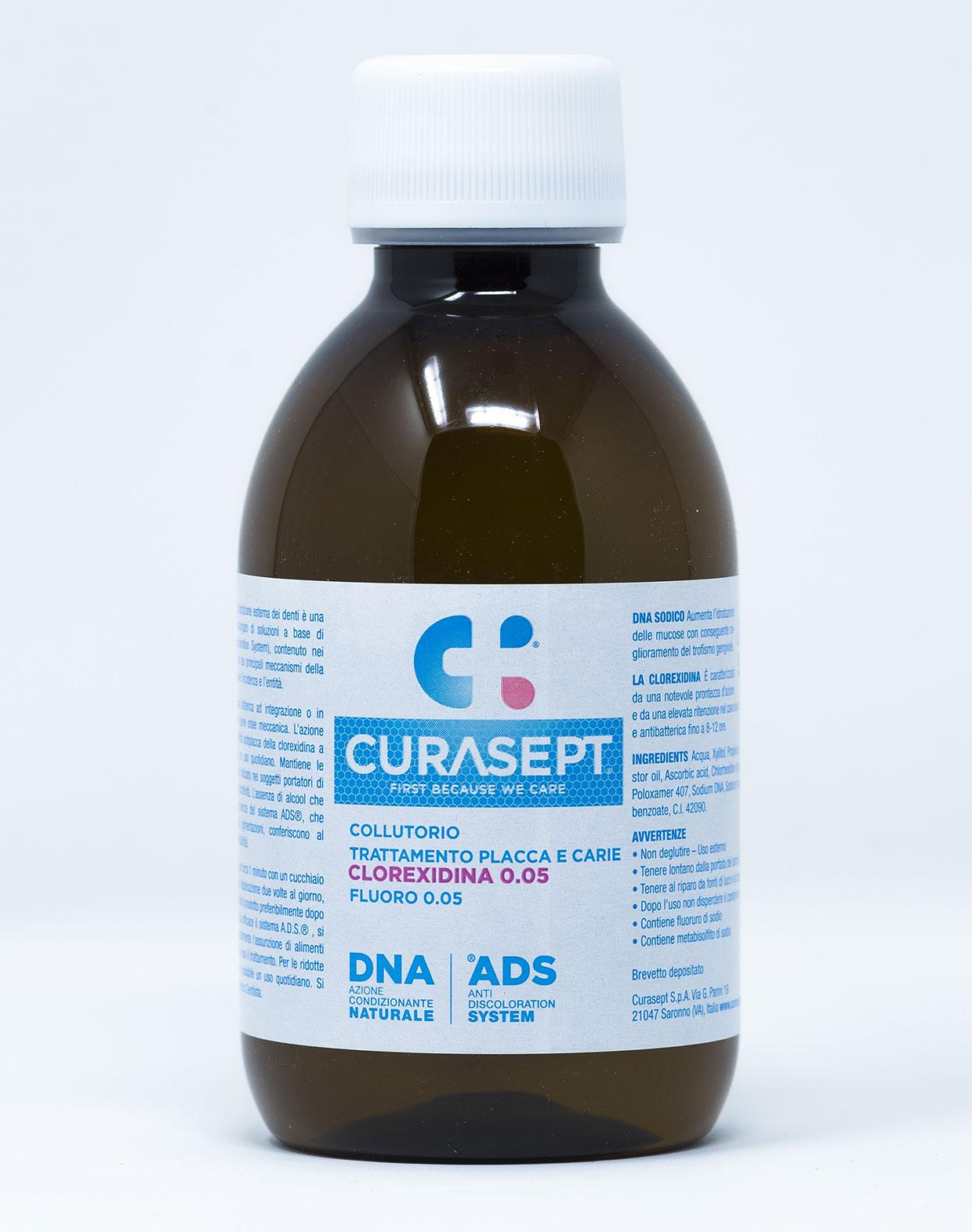 Curasept Collutorio Trattamento Placca e Carie CHX 0,05% + Fluoro 0,05% – 200 ml